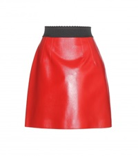 Dolce And Gabbana Leather Miniskirt Red