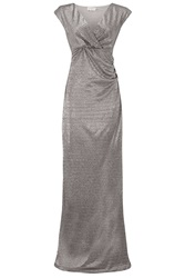 Almost Famous Metallic Foil Gown Silver Metallic