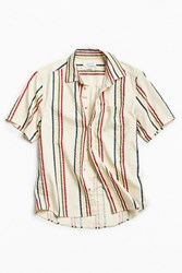 Urban Outfitters Uo A 90S Vertical Stripe Short Sleeve Button Down Shirt White