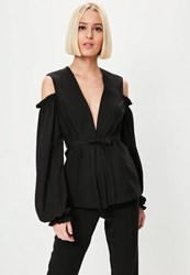 Missguided Black Cold Shoulder Frill Detail Blazer