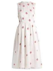 Jupe By Jackie Grape Rose Embroidered Cotton Organdy Midi Dress White