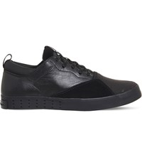 Adidas Y3 Laver Sigma Suede Leather And Mesh Trainers Black Mono