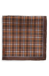 Men's Robert Talbott Plaid Silk Pocket Square Brown