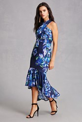Forever 21 Floral High Low Dress Blue