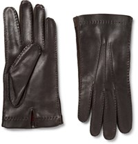 Loro Piana Uede Trimmed Leather Glove Chocolate