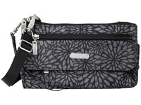 Baggallini Plaza Mini Pewter Floral Cross Body Handbags Black