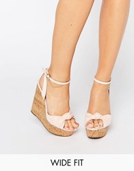 Asos Traffic Jam Wide Fit Wedges Nude Beige