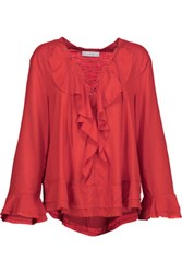 Iro Finley Lace Up Ruffled Voile Top Red