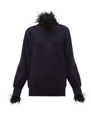 Toga Feather Trim Wool Blend Sweater Navy