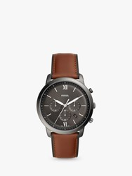 Fossil 'S Neutra Chronograph Date Leather Strap Watch Brown Grey Fs5512