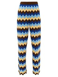 M Missoni High Rise Zigzag Cotton Wide Leg Trousers Blue Multi