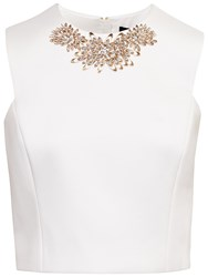 Ted Baker Embellished Cap Sleeve Top White