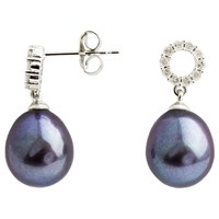 A B Davis 9Ct White Gold Diamond Set Pearl Drop Earrings Black
