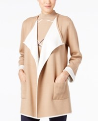 Alfani Colorblocked Open Front Cardigan Only At Macy's Colorblock Camel
