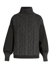 Tomas Maier Contrast Panel High Neck Sweater Dark Grey