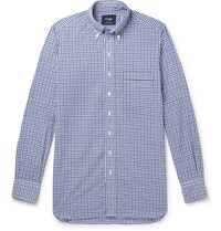 Drakes Drake's Button Down Collar Gingham Cotton And Linen Blend Shirt Blue
