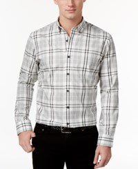 Club Room Men's Tartan Plaid Shirt Only At Macy's Light Grey Heather