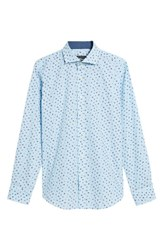 Bugatchi Shaped Fit Zigzag Floral Sport Shirt Aqua