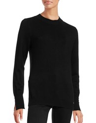 Ivanka Trump Rib Trimmed Mock Turtleneck Sweater Black