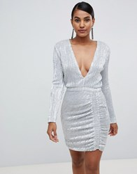 Lavish Alice Sequin Embellished Mini Dress In Silver Iridescent