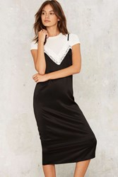 Rogue Satin Slip Dress Black
