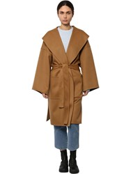 Loewe Belted Wool And Cashmere Cloth Coat Camel