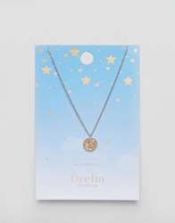 Orelia Aquarius Constellation Disc Pendant Gold