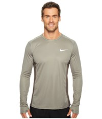 Nike Dry Miler Long Sleeve Running Top Tumbled Grey Midnight Fog Men's Clothing Gray