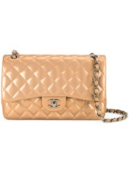 Chanel Vintage Quilted Cc Double Flap Bag Brown