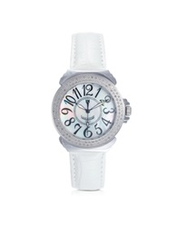 Lancaster Pillola Leather Women's Watch W Diamonds Silver
