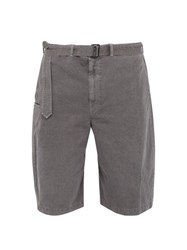 Christophe Lemaire Belted Straight Leg Cotton And Linen Blend Shorts Grey
