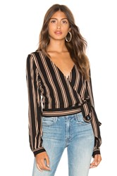 Line And Dot Harlow Wrap Top Black