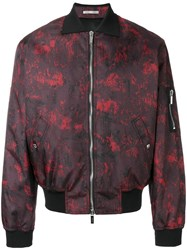Christian Dior Homme Abstract Print Bomber Jacket Red