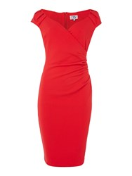 Jessica Wright Cappedsleeve Gathered Bodycon Dress Red