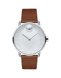 Movado Edge Stainless Steel Silver Dial Analog Leather Strap Watch