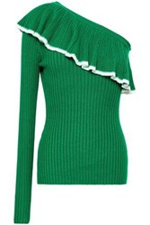 Baum Und Pferdgarten Woman One Shoulder Ruffled Ribbed Knit Top Green