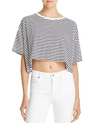 Alexander Wang T By Striped Crop Tee White Navy