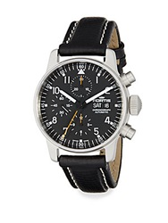 Fortis Pilot Professional Stainless Steel And Leather Chronograph Watch Silver Black