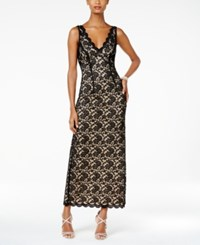 Connected Scalloped Lace Column Gown Black Nude
