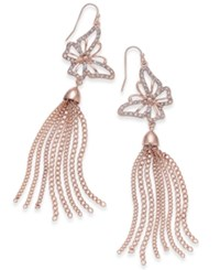 Thalia Sodi Rose Gold Tone Pave Butterfly Chain Tassel Drop Earrings Only At Macy's