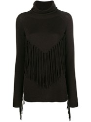 P.A.R.O.S.H. Fringed Turtle Neck Sweater Brown