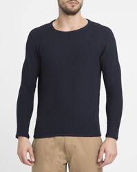 Revolution Navy 6261 Slightly Oversized Knit Raglan Round Neck Sweater Blue