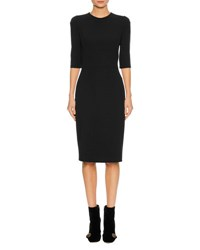 Dolce And Gabbana 1 2 Sleeve Fitted Cady Cocktail Dress Black