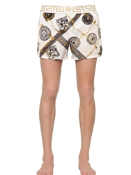 Versace Underwear Printed Nylon Swimming Shorts White Gold