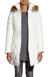 Women's Jessica Simpson Faux Fur Trim Hooded Quilted Down And Feather Fill Coat Ivory