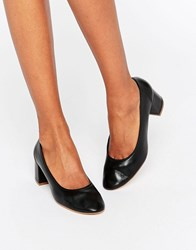 Faith Cassidy Black Leather Mid Heeled Shoes Black