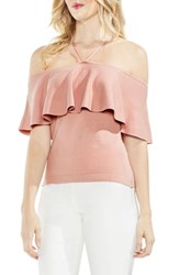 Vince Camuto Ruffle Off The Shoulder Halter Sweater Wild Rose
