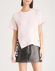 Izzue Slit And Tape Cotton Jersey T Shirt Pink