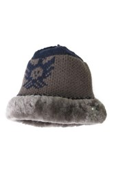 Australia Luxe Collective Knit Genuine Shearling Trim Hat Gray