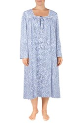 Eileen West Plus Size Cotton Nightgown White Ground With Multi Floral